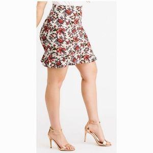 NWT Agnes & Dora Flounce Skirt Floral Mint Green